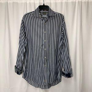 Thomas Dean Paisley Flip Cuff Button Down Shirt